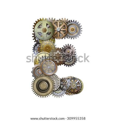 steampunk metallic gears font, letter e - stock photo