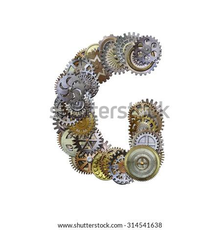 steampunk metallic gears font, letter g - stock photo