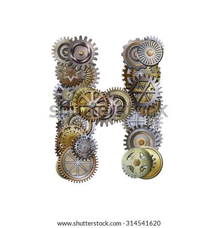 steampunk metallic gears font, letter h - stock photo