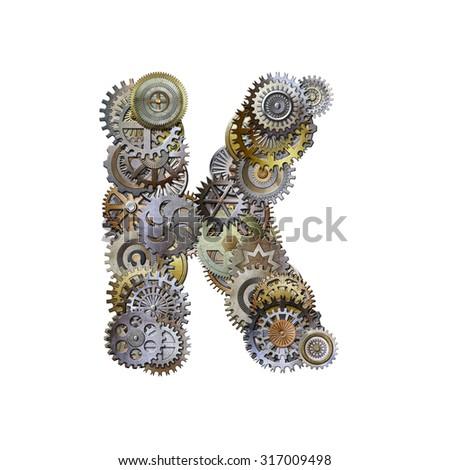 steampunk metallic gears font, letter k - stock photo