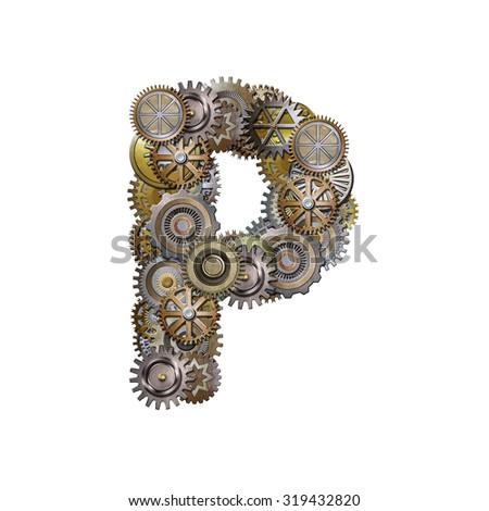 steampunk metallic gears font, letter p - stock photo