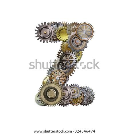 steampunk metallic gears font, letter z - stock photo