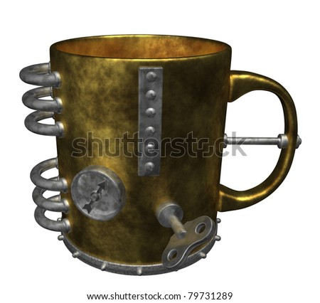 steampunk mug on white background - 3d illustration