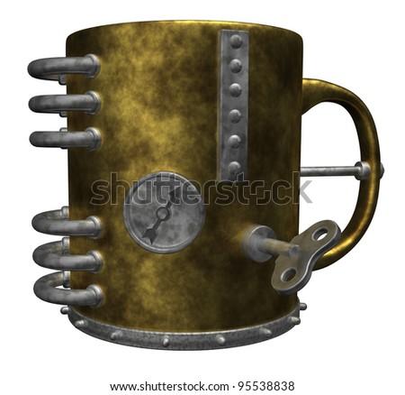 steampunk mug on white background - 3d illustration - stock photo