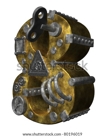 steampunk number eight on white background - 3d illustration - stock photo