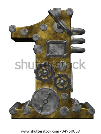 steampunk number one on white background - 3d illustration