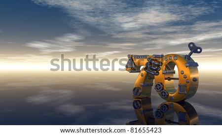 steampunk number seventy under blue sky - 3d illustration - stock photo