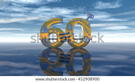 steampunk number sixty under blue sky - 3d rendering - stock photo