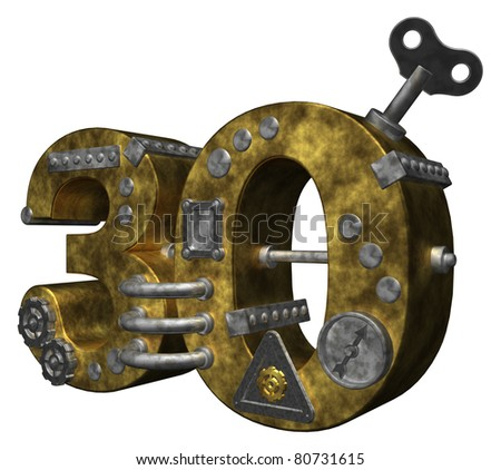 steampunk number thirty on white background - 3d illustration