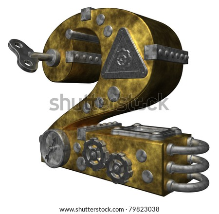 steampunk number two on white background - 3d illustration
