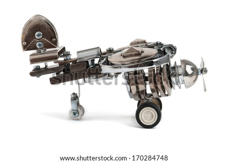 Steampunk plane. - stock photo