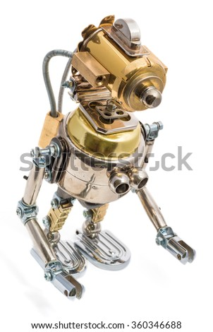 Steampunk robot. Cyberpunk style. Chrome and bronze parts. Isolated on white.
