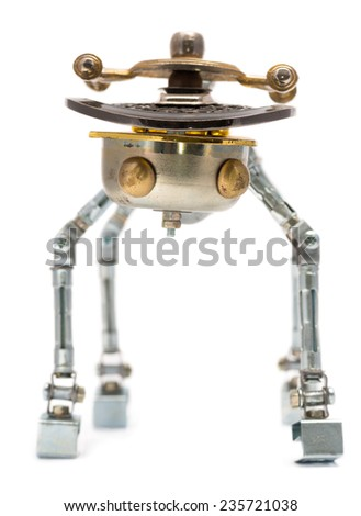 Steampunk robot. Focus on eyes Cyberpunk style. Chrome and bronze parts. - stock photo