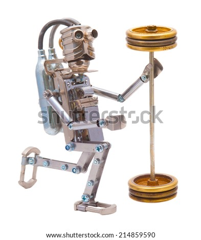 Steampunk robot holding a heavy barbell. Cyberpunk style. Chrome and steel parts. Isolated on white background. - stock photo