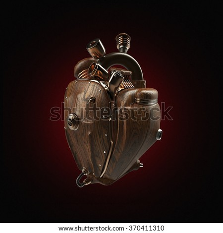 Steampunk robot techno heart. engine with pipes, radiators and dark wooden  hood parts. bike show rock hardcore poster template - stock photo