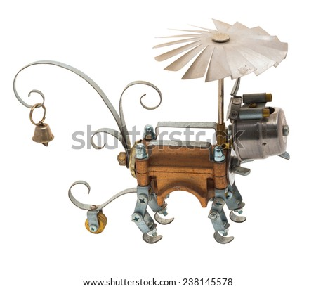 Steampunk robot. Two sides. Cyberpunk style. Chrome and bronze parts. Isolated on white. - stock photo