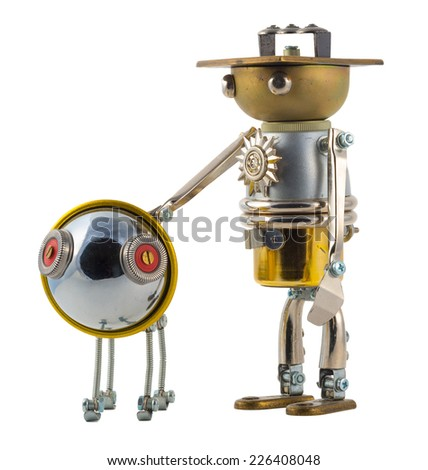 Steampunk robot with puppy. Cyberpunk style. Chrome and bronze parts. Isolated on white.  - stock photo