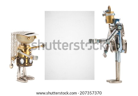 Steampunk robots holding a card. Cyberpunk style. Chrome and bronze parts. Isolated on white background. - stock photo