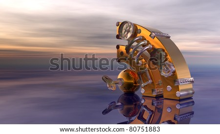 steampunk rss symbol under cloudy  sky - 3d illustration