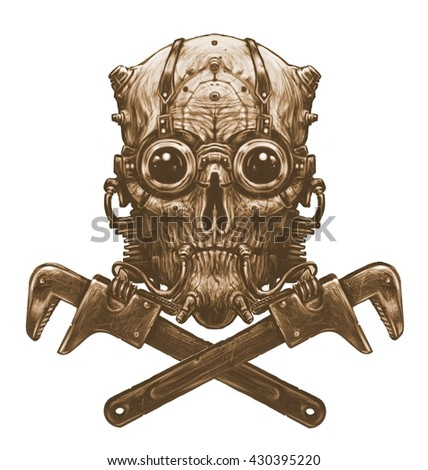 Steampunk skull  with adjustable wrench. Digital illustration in sepia. White background - stock photo