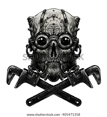 Steampunk skull  with adjustable wrench. Digital illustration. White background - stock photo