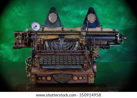 Steampunk style future Typewriter. Keyboard with the pre-revolutionary Russian typeface. (Till 1918) Hand/home made model. - stock photo