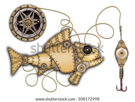 Steampunk style. Industrial mechanical fish isolated on white background. Photo compilation - stock photo