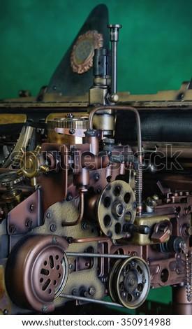 Steampunk style mechanism. Hand/home made model. - stock photo