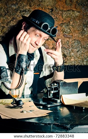 steampunk-styled financier working at the table with arithmometer