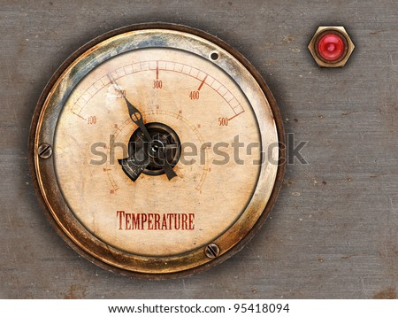 Steampunk themed vintage brass and copper gauge with red lamp on metal background - stock photo