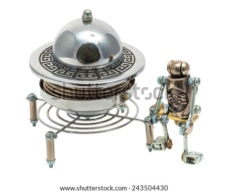 Steampunk UFO. Cyberpunk style. Chrome and bronze parts. Isolated on white. - stock photo