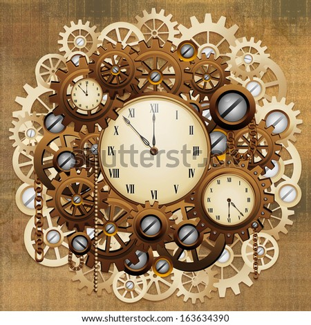 Steampunk Vintage Style Clocks and Gears - stock photo
