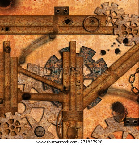 Steampunk with rusty pipes - stock photo
