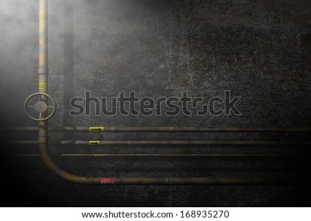 Steamy Industrial Pipes Background Illustration - stock photo