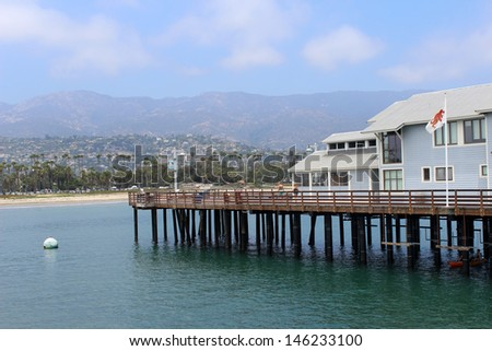 Stearns Wharf in Santa Barbara, California - stock photo