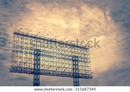 steel advertising billboard sign - frame outdoor commercial blank space marketing advertising publicity - stock photo