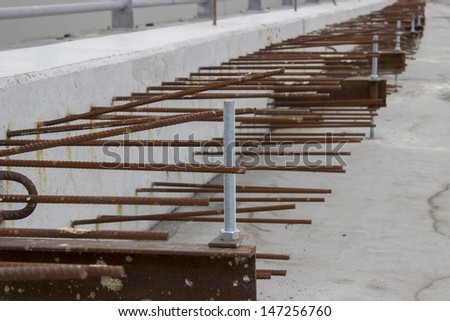 Steel and Iron close-up detail on construction site of Ada bridge. On Sava River, in Belgrade, Serbia - stock photo