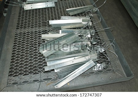 Steel angles bunch in warehouse before shipment