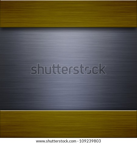 Steel background connected with gold strips - metal texture
