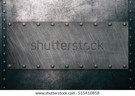 Steel background with metal plate