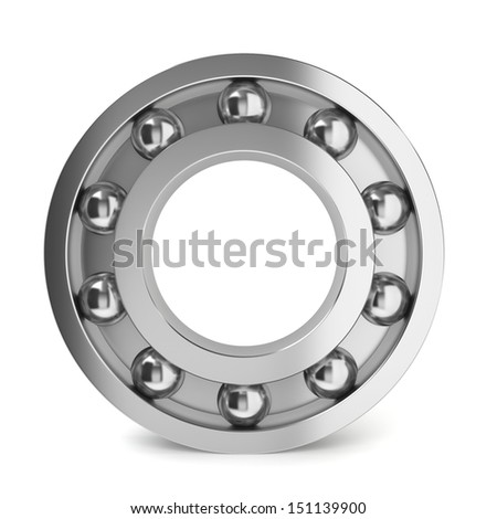 Steel ball bearing. 3d illustration on white background