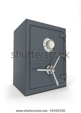 Steel bank safe with combination lock - stock photo