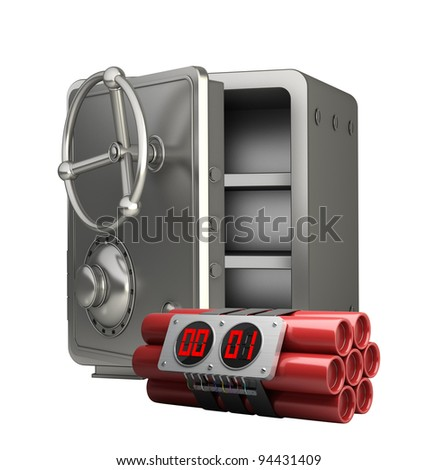 steel bank safe with Explosives  alarm clock isolated on white background High resolution 3D