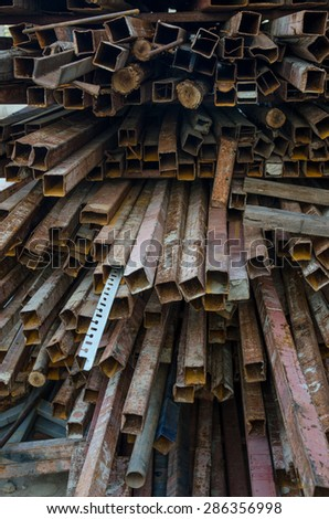 steel bar components in a construction old Iron