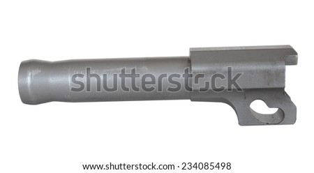Steel barrel for a semi automatic handgun isolated on white - stock photo