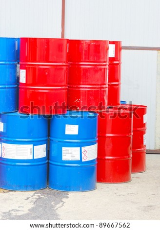 steel barrels - stock photo
