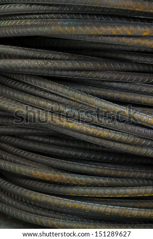 Steel bars close- up background. Reinforcing bar background