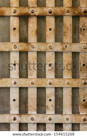 Steel bars of a prison cell at the Old Idaho State Penitentiary in Boise, Idaho - stock photo