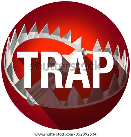 Steel bear trap with metal teeth and long shadow word to illustrate or warn of risk or danger - stock photo