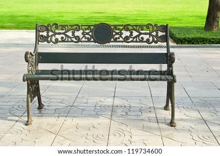 Steel Bench at relaxation corner - stock photo